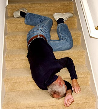 This picture is a simulation of what it may look like when a Lafayette man falls down stairs. If you have suffered an injury on someone else's property or at work, contact a Lafayette Personal Injury Attorney today.