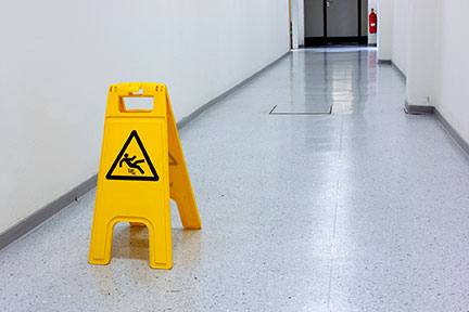 Slippery floors like this one often cause injuries in the Lafayette area. If you are injured on someone else's property call a Lafayette Personal Injury Attorney today.
